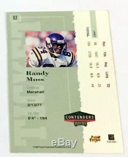 1998 Contenders Randy Moss Rookie Auto #92 Rare Sp #/300 Autograph Ticket