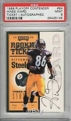 1998 Playoff Contenders #94 Hines Ward RC Rookie Card PSA 9 Auto /500