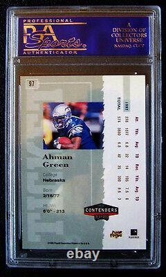 1998 Playoff Contenders Ahman Green, #97, Rookie Ticket Autograph, Graded Psa 9