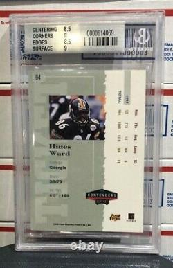 1998 Playoff Contenders Hines Ward, #94, Rookie Ticket Autograph, Grade Bgs 8.5