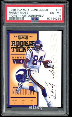 1998 Playoff Contenders Randy Moss ROOKIE RC AUTO /300 #92 PSA 6
