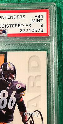 1998 Playoff Contenders Registered Exchange Hines Ward Auto Psa Mint 9 Nice
