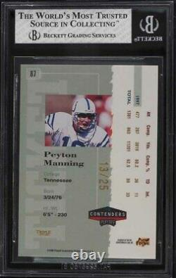 1998 Playoff Contenders Ticket Gold Peyton Manning ROOKIE RC /25 #87 BGS 8 NM-MT