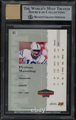 1998 Playoff Contenders Ticket Peyton Manning ROOKIE AUTO #87 BGS 9 MINT