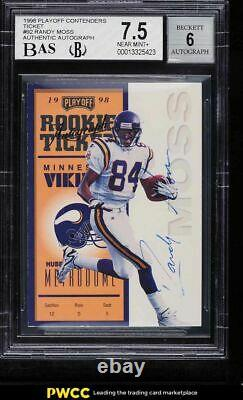 1998 Playoff Contenders Ticket Randy Moss ROOKIE RC AUTO /300 #92 BGS 7.5 NRMT+