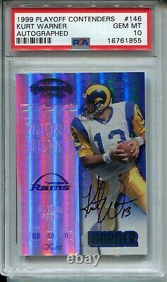 1999 Playoff Contenders #146 Kurt Warner Rookie Card RC Autograph Auto PSA 10
