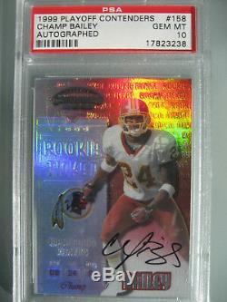1999 Playoff Contenders Autographed 158 Champ Bailey Rookie Auto PSA 10 Redskins