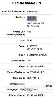 1999 Playoff Contenders Kurt Warner Rookie/Auto Card Low Pop HOFer