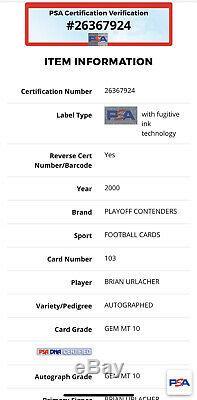 2000 Playoff Contender Brian Urlacher Auto/Rookie Card! Pop 1