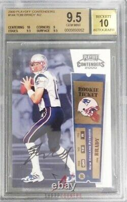 2000 Playoff Contenders #144 Tom Brady Rc Rookie Pop 15 Bgs 9.5 Gem Mint Auto 10