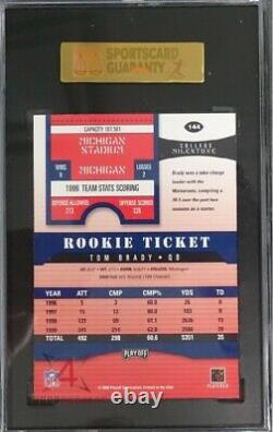 2000 Playoff Contenders Autographed #144 Tom Brady Rc Rookie Sgc 98 Gem 10