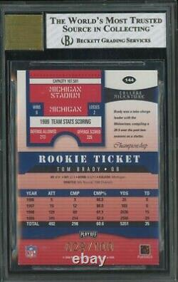 2000 Playoff Contenders Championship Ticket TOM BRADY RC /100 BGS 8 with 10 AUTO