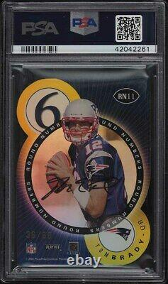 2000 Playoff Contenders Round Numbers Gold Tom Brady ROOKIE AUTO /60 PSA 9 MINT