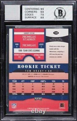 2000 Playoff Contenders Tom Brady ROOKIE RC AUTO #144 BGS 8 NM-MT