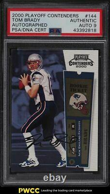 2000 Playoff Contenders Tom Brady ROOKIE RC PSA/DNA 9 AUTO #144 PSA Auth