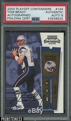 2000 Playoff Contenders Tom Brady Rookie Ticket Signed AUTHENTIC AUTO PSA/DNA 8