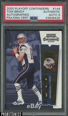 2000 Playoff Contenders Tom Brady Rookie Ticket Signed AUTHENTIC AUTO PSA/DNA 9