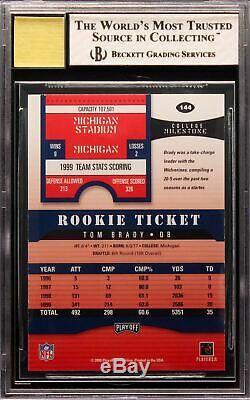 2000 Tom Brady Playoff Contenders RC Rookie Auto #144 BGS 8 / 10