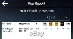 2001 Contenders Drew Brees Rookie Autograph /500 Bgs 9 Auto 10