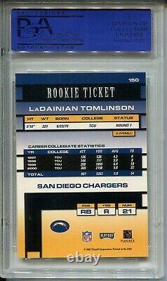 2001 Playoff Contender #150 Ladainian Tomlinson Rookie Card PSA MINT 9 Auto