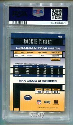 2001 Playoff Contenders Ladainian Tomlinson RC Ticket Auto /600 PSA 9 Mint (CBF)