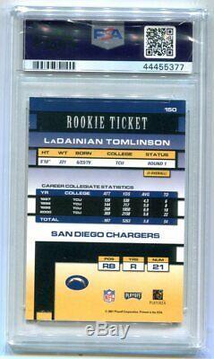 2001 Playoff Contenders Ladainian Tomlinson RC Ticket Auto PSA 8 NM-MT (CBF)
