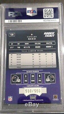 2002 Playoff Contenders #129 Ed Reed RC/AU/550, PSA 8, HOF