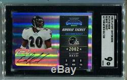 2002 Playoff Contenders Ed Reed RC Ticket Auto 526/550 SGC 9 MINT (CBF)