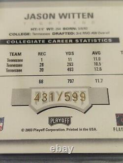 2003 Playoff Contenders #117 Jason Witten RC/AU/599, GEM MINT / BGS 9.5/10