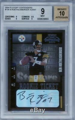 2004 Playoff Contenders #106 Ben Roethlisberger RC Rookie Mint BGS 9 10 Auto
