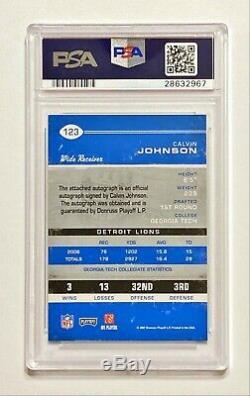 2007 Playoff Contenders CALVIN JOHNSON #123 Rookie Ticket Auto PSA 10/10! POP 7