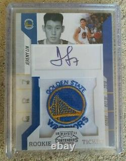 2010-11 Playoff Contenders Rookie Ticket Jeremy Lin Warriors Patch #141 Signed