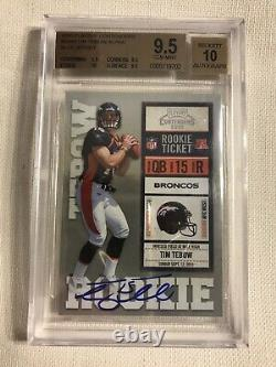 2010 Contenders Rookie Ticket Autograph Auto /400 Tim Tebow RC BGS 9.5 PSA 10