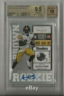 2010 Playoff Contenders Antonio Brown Rookie Ticket Autograph Auto Bgs 9.5/10 O9