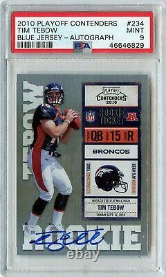 2010 Playoff Contenders Tim Tebow Rookie RC Ticket Auto #234 PSA 9 POP 8 Rare