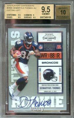 2010 playoff contenders #209a DEMARYIUS THOMAS broncos rookie BGS 9.5 auto 10