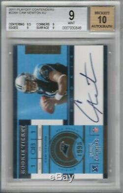 2011 Playoff Contenders #228A Cam Newton Rookie Card RC BGS 9 Mint Auto 10