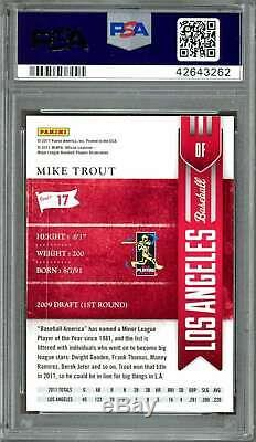 2011 playoff contenders #17 MIKE TROUT los angeles angels rookie card PSA 10