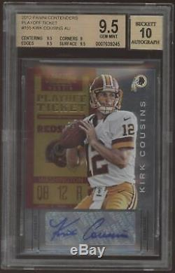 2012 Panini Contenders Kirk Cousins Playoff Ticket RC Auto /99 BGS 9.5 10