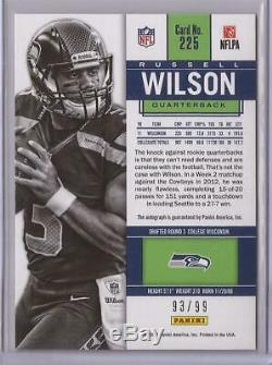 2012 Panini Contenders Russell Wilson Playoff Ticket #225 Autograph Rookie 93/99