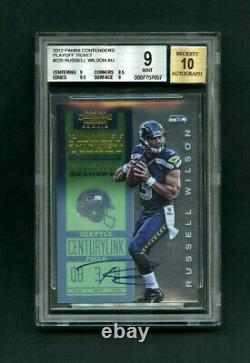 2012 Russell Wilson Panini Contenders Playoff Ticket Rookie Auto /99 BGS 9 MINT