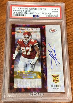 2013 Contenders Cracked Ice Rookie Ticket Travis Kelce Chiefs RC AUTO /21 PSA 9
