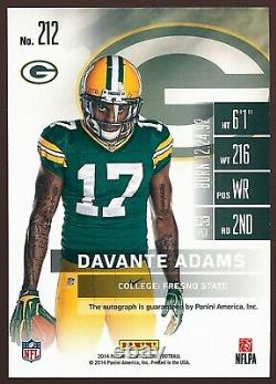 2014 Contenders Football Davante Adams PACKERS #212 Rookie RC Playoff Auto /99