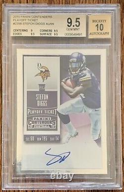 2015 Contenders Stefon Diggs Playoff Ticket Auto RC #d /99, BGS 9.5/10 Gem Mint