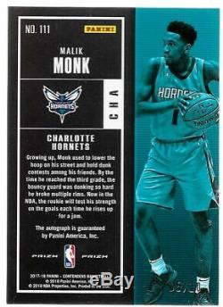 2017-18 Contenders Rookie Ticket Gold Premium Malik Monk Prizm Auto #d 05/10