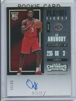 2017-18 Panini Contenders Og Anunoby Auto Playoff Ticket Rookie Card RC #123 /65