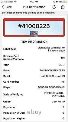 2017 Contenders Bogdan Bogdanovic RC AUTO PLAYOFF TICKET /65 PSA 10 Gem POP 2