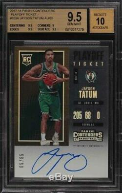 2017 Contenders Playoff Ticket /65 Jayson Tatum #103A BGS 9.5 Auto 10 ROOKIE RC