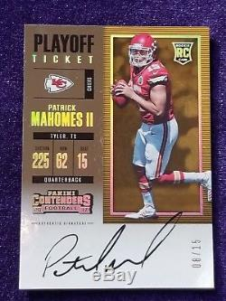 2017 Contenders Playoff Ticket Patrick Mahomes Rookie Auto OPY and MVP #8/15