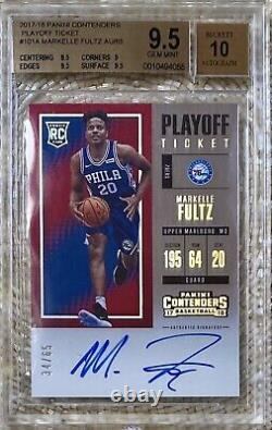 2017 Panini Contenders Playoff Ticket Auto /65 Markelle Fultz Rc Bgs 9.5/10